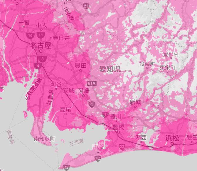 愛知県の電波状況