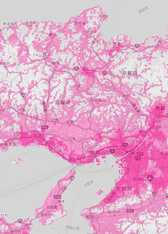 兵庫県の電波状況