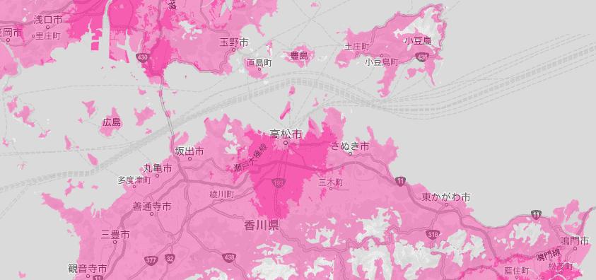香川県の電波状況