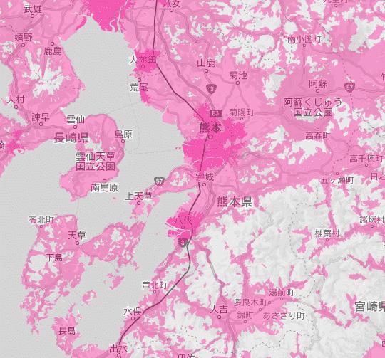 熊本県の電波状況