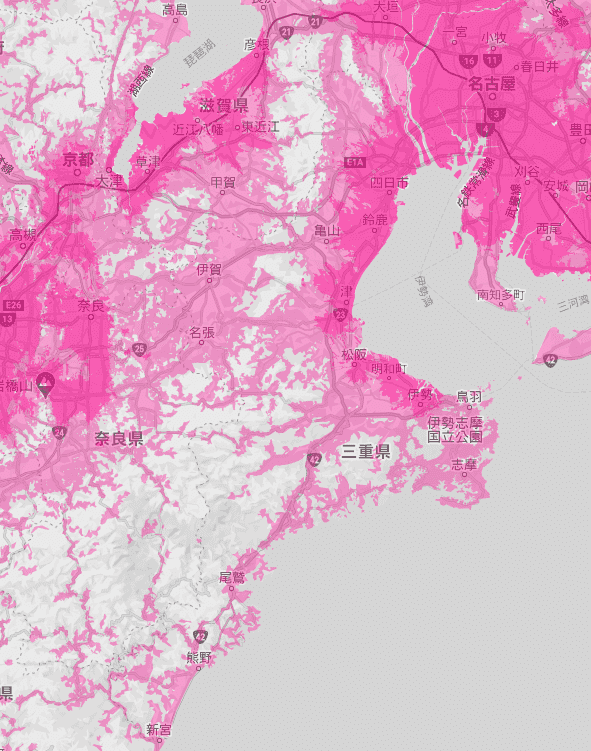 三重県の電波状況