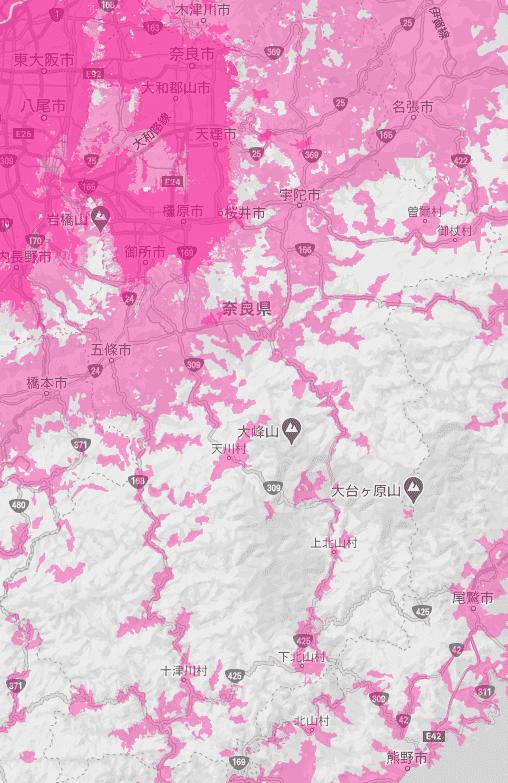 奈良県の電波状況
