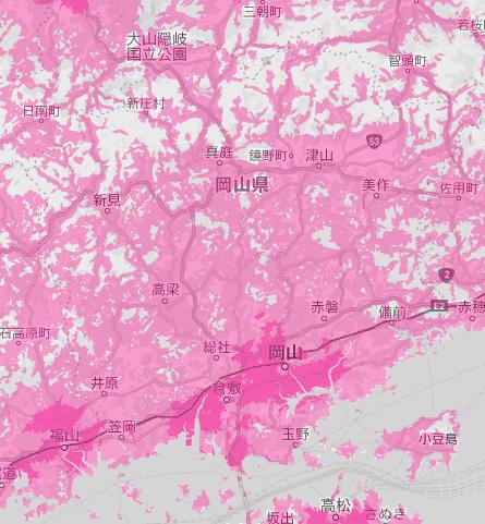 岡山県の電波状況