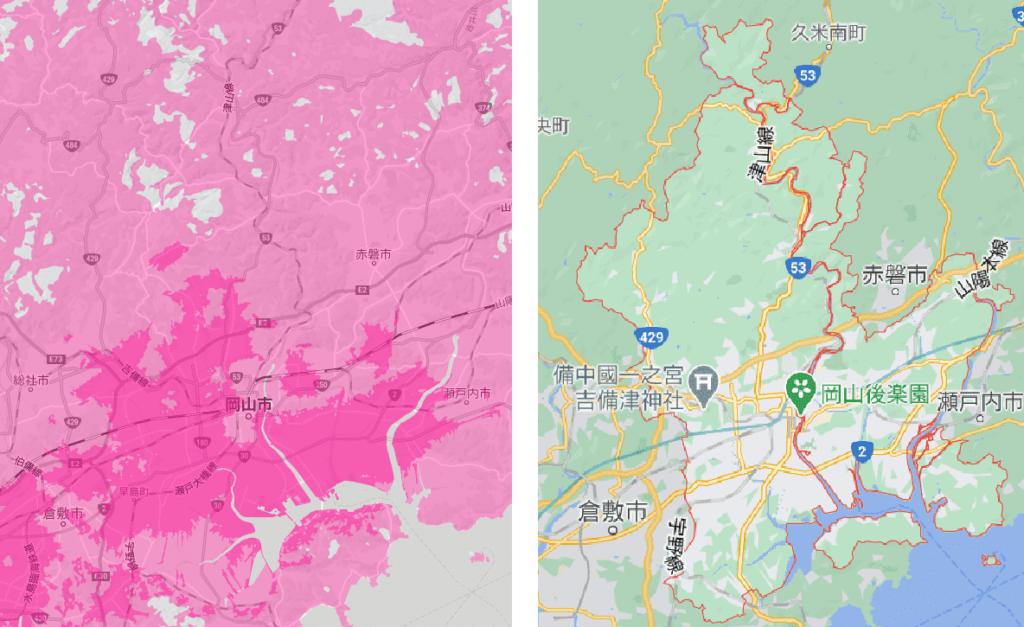 岡山市の電波状況