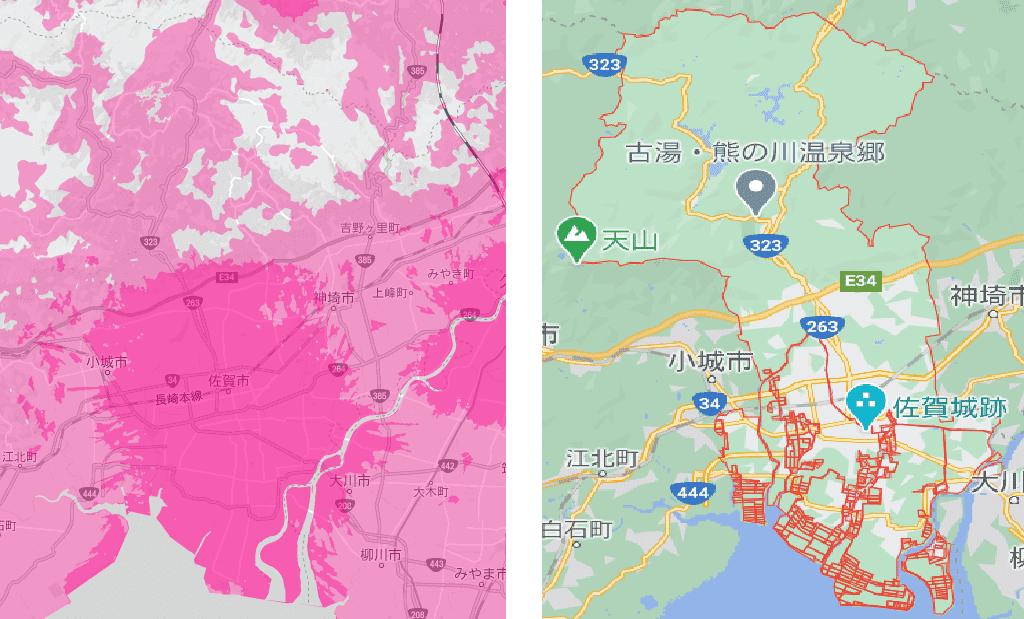 佐賀市の電波状況