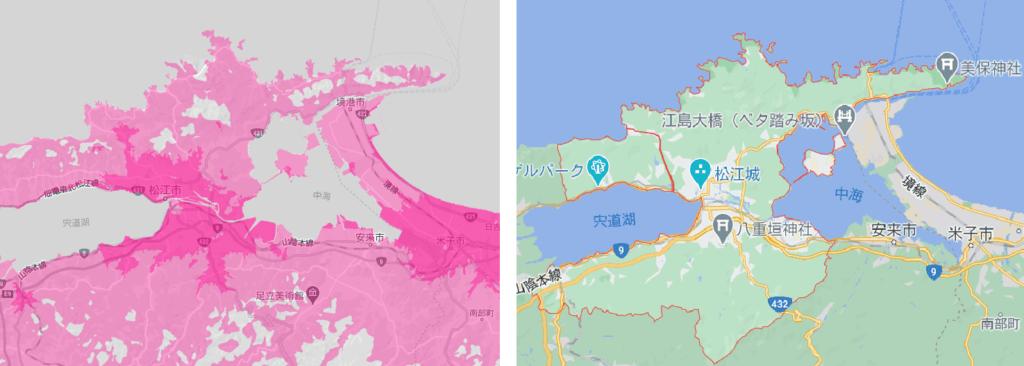 松江市の電波状況