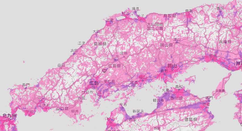 今後の中国地方の電波状況