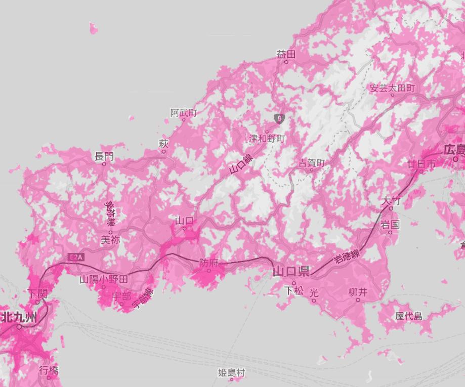 山口県の電波状況